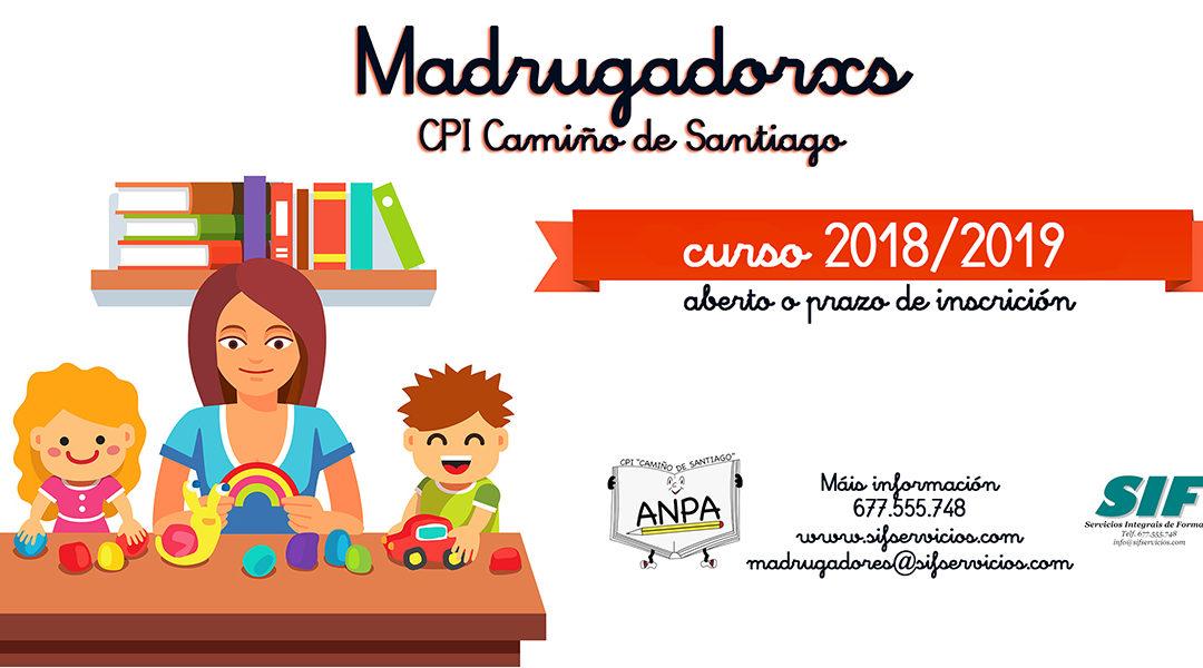 Aberto a inscrición para o servizo Madrugadores do curso 2018-19