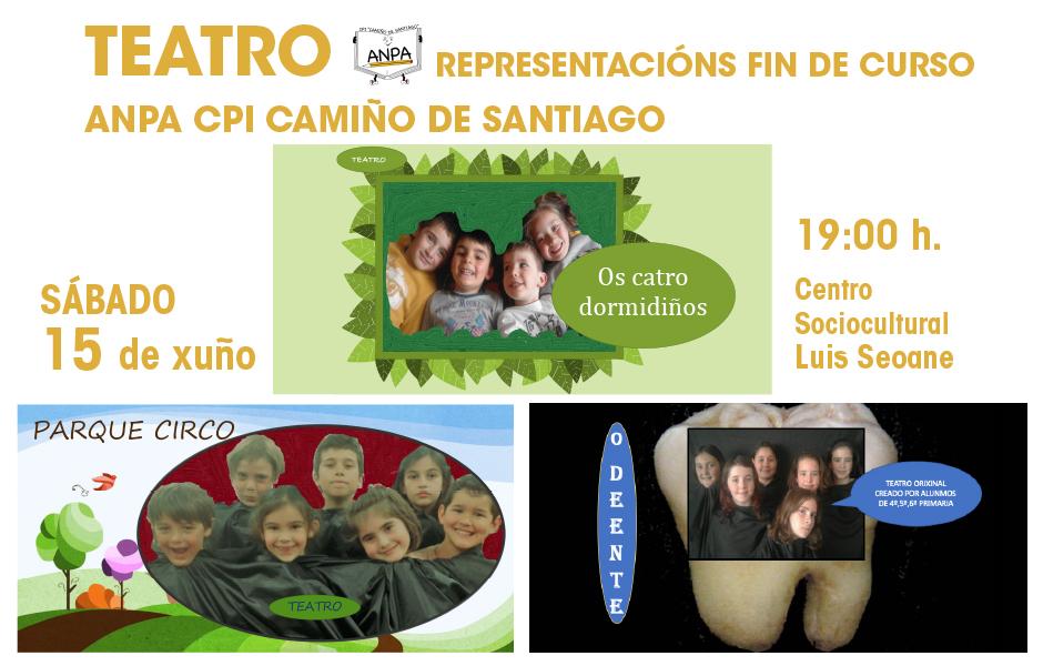 Os grupos de teatro da ANPA pechan o curso con tres representacións o día 15