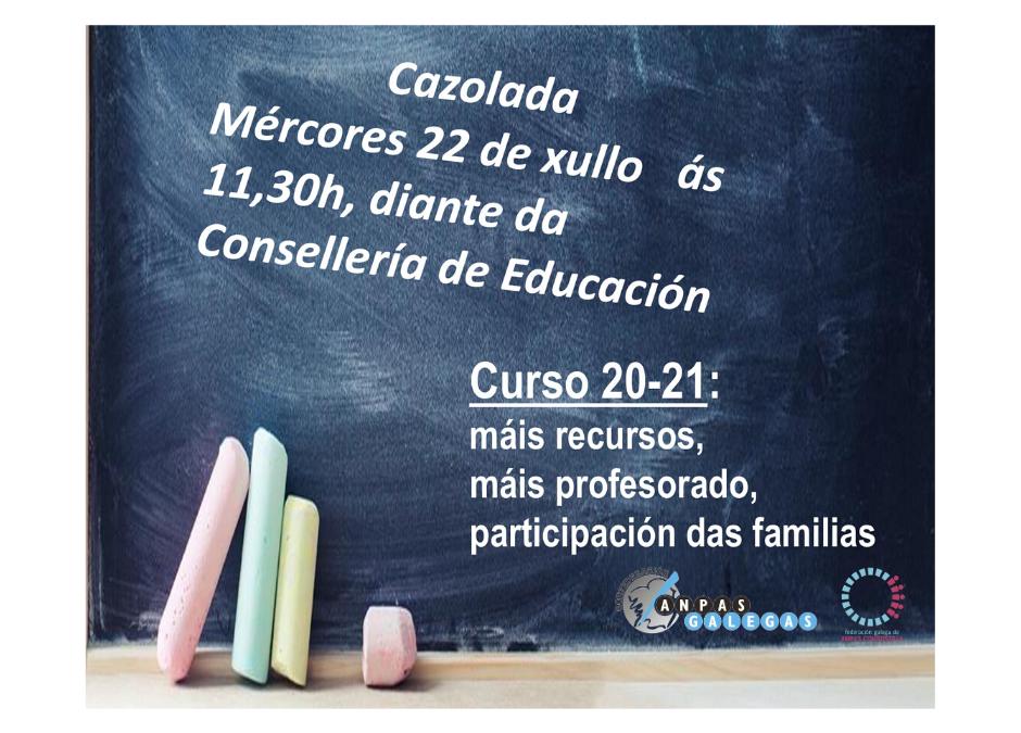 A Conferderación de ANPAs Galegas respalda a manifestación de hoxe diante da Consellería de Educación
